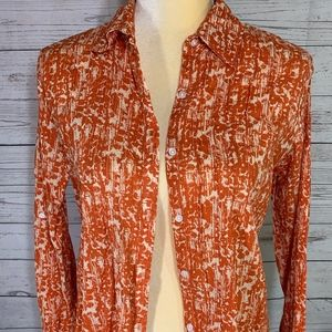 Eddie Bauer Pleated Coral Floral Blouse Size MP